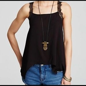 Free People Intimately Camisole lace straps Black